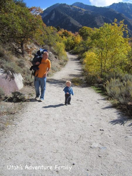 The trail around the reservoir is pretty easy. It starts and ends on this wide dirt path. We even let our one year old out of the backpack to hike on this part of the trail.