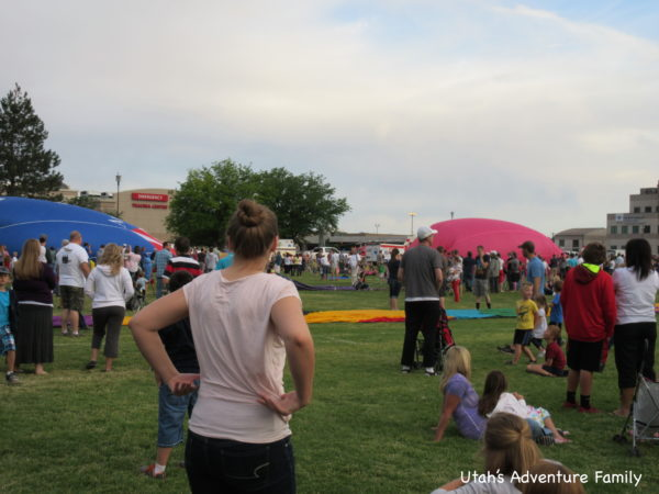 hot air balloons filling up.