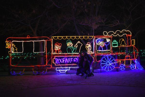 Christmas light train at Zoo Lights Hogle Zoo