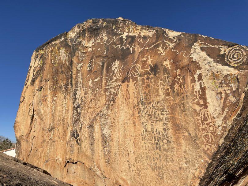 petroglyphs on large rock