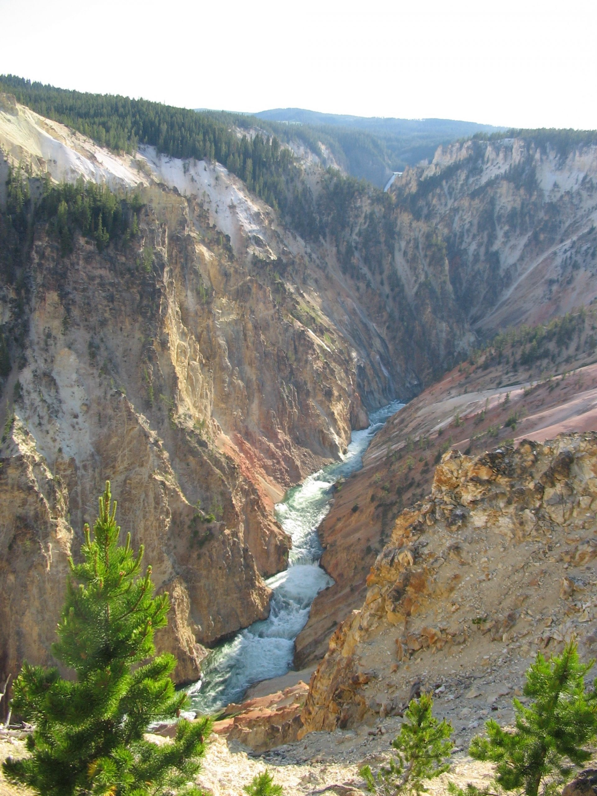 View of Yellowstone Grand Canyon with Yellowstone River in bottom