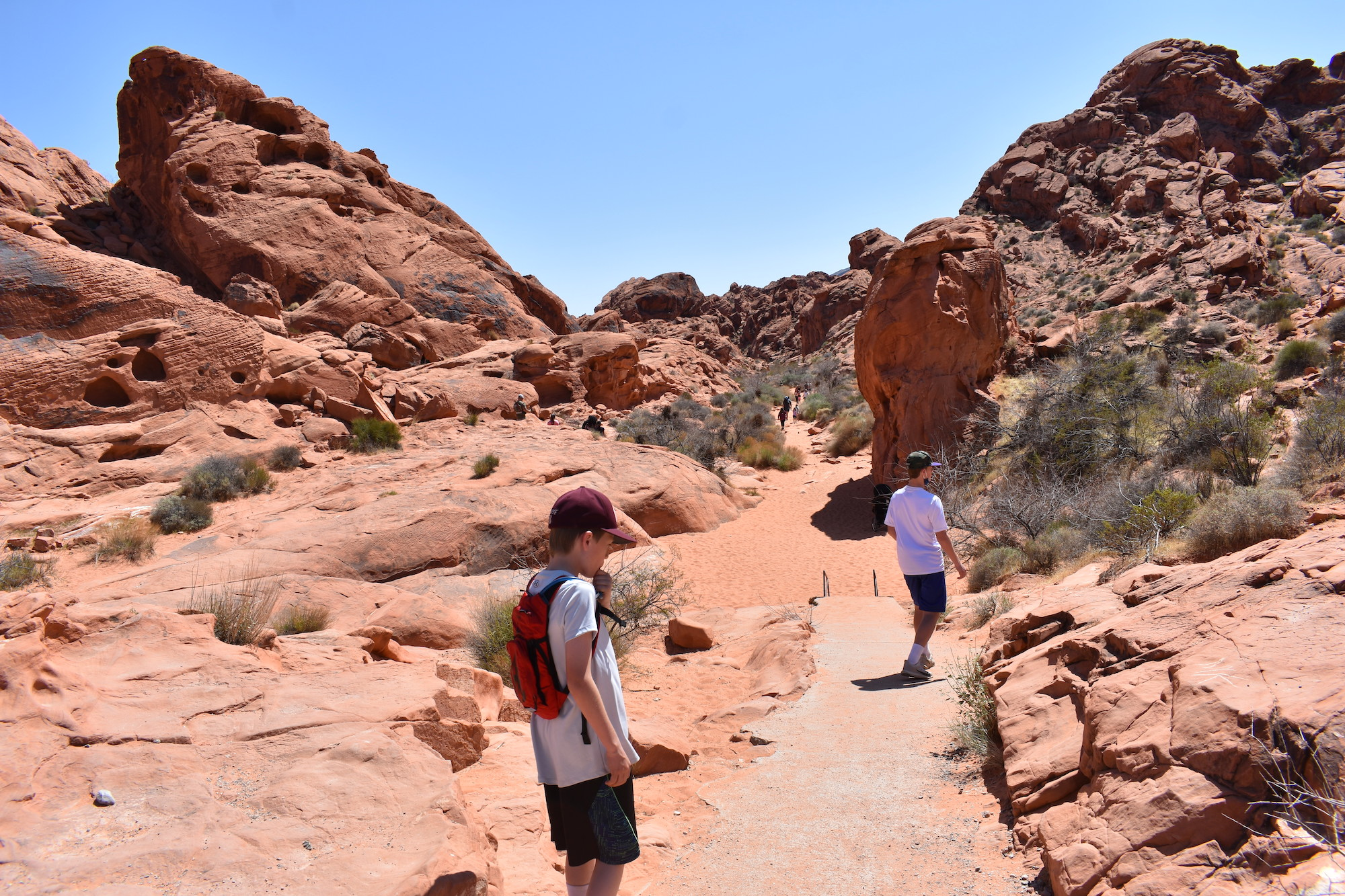 Two boys hiking in Valley of Fire State Park.
