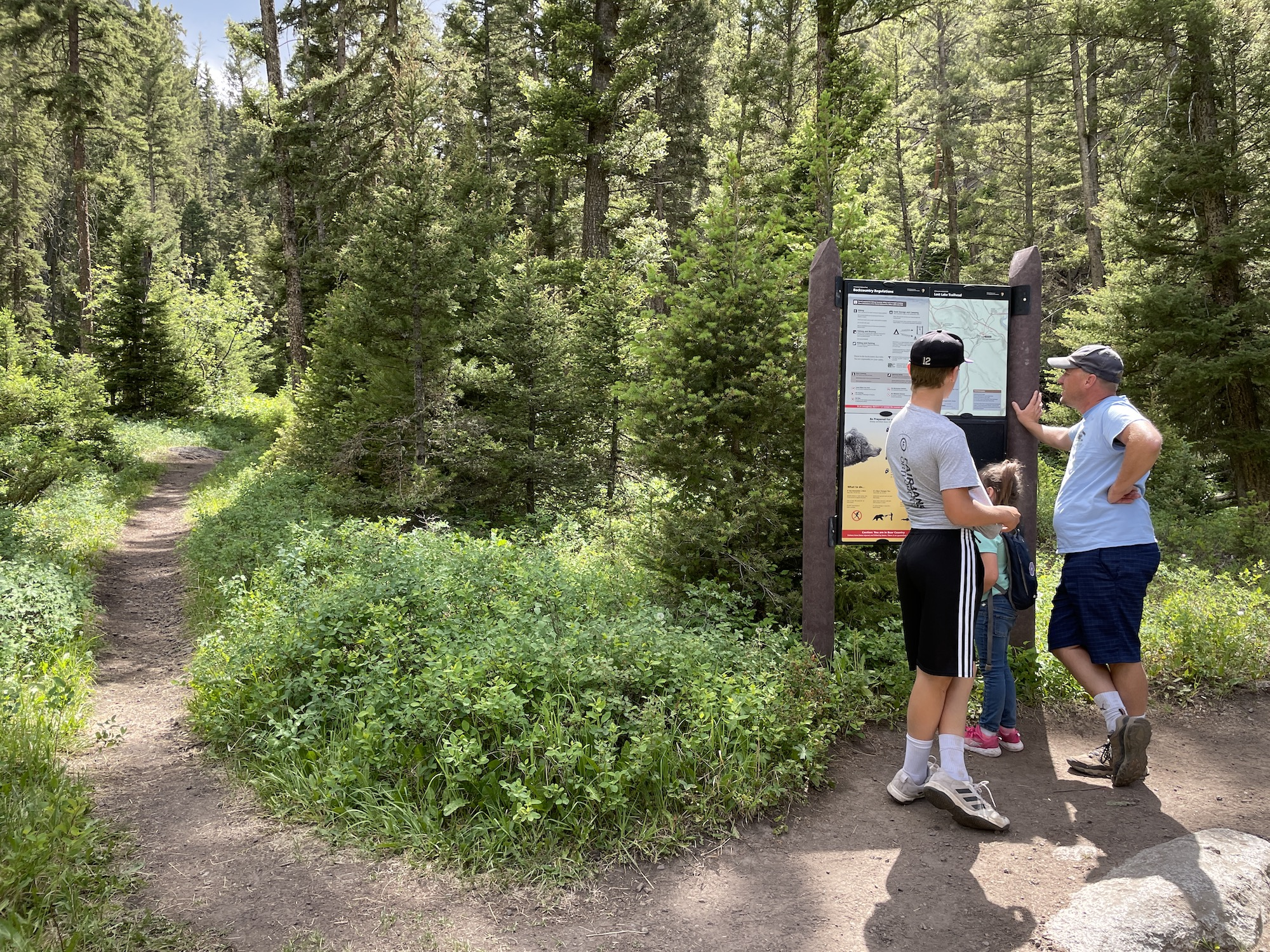 trail sign for lost falls yellowstone